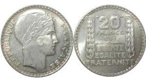 20 francs turin - pièce argent